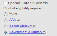 military or government rate
