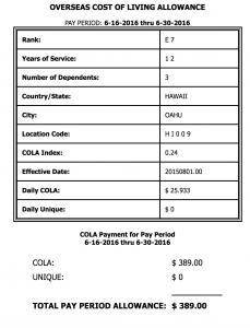 oahu hawaii cola rates 2016